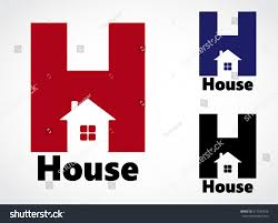 color negative shape house h logo stock vector 517039426