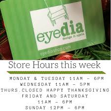 store hours eyedia shop