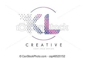 clipart vector of kl k l pink magenta dotted bubble letter logo