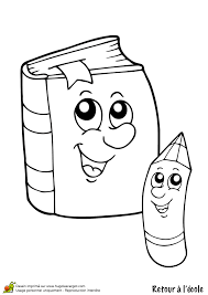 Coloriage retour ecole livre crayon sur Hugolescargotcom