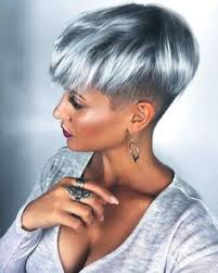 pictures of womens short dark hair with grey streaks pixie cut grey purple hair goals ear piercings style with