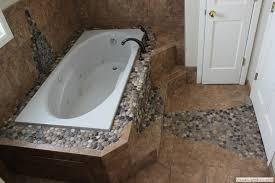 river rock tile and ailport master bathroom custom river rock tile