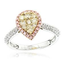pink rings gold images Natural white pink yellow diamond engagement ring pear shape 0 9ct jpg