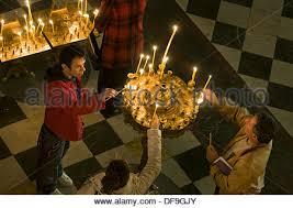 sofia the candle interior of the nevsky cathedral sofia bulgaria stock