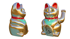 waving cat four luck cats ornament with