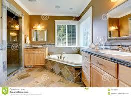salle de bain luxe intérieur de luxe de salle de bains avec la baignoire faisante le