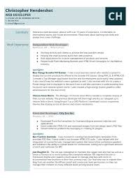 web developer resumes professional web developer resume elegant