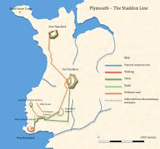 Plymouth England Map by Plymouth Staddon Line