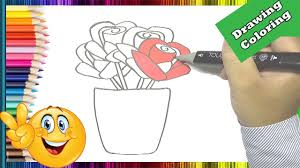 how to draw roses coloring pages pot rose flowers to color youtube