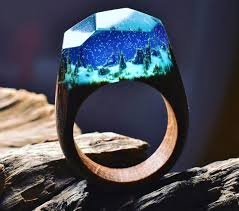 wood rings com images Beautiful wooden rings with mini landscapes encapsulated in resin jpg