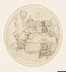 house at pooh corner a sketch showing winnie the pooh reaching into a honey jar as