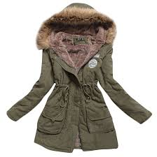 womens hooded warm winter coats faux fur lined parkas black pink
