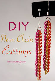 make your own earrings studs how to make neon chain earrings the crafty stalker