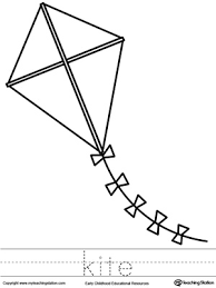 kite coloring page and word tracing myteachingstation com