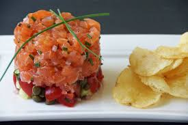tartare cuisine salmon tartare with tomatoes cucumbers capers strawberryplum