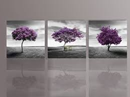 Landscape Canvas Prints by Amazon Com Nuolan Art Canvas Print 3 Panels Purple Trees Modern