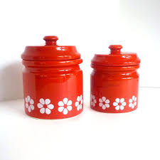 Design For Kitchen Canisters Ceramic Ideas 60 U0027s 70 U0027s Red Ceramic Canister Set By Cohabitvintage On Etsy