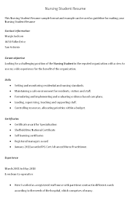 Resume Sample Student by Sample Resume For Nursing Student Resume For Your Job Application