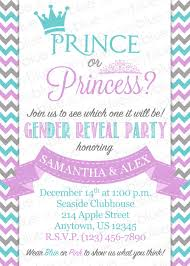 reveal baby shower gender reveal baby shower invitation prince princess boy girl