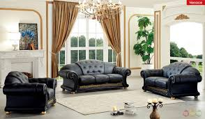 Black Living Room Furniture Sets Versace Black Genuine Top Grain Italian Leather Luxurious Living