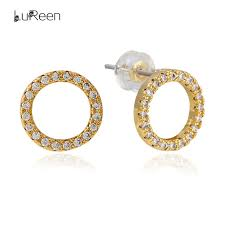 circle stud earrings lureen bling micro pave cz zirconia circle stud earrings for women