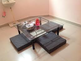 dining table with floor cushion seating bangalore