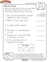 blend at the end u2013 2nd grade english worksheets u2013 jumpstart