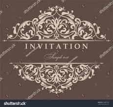 Vintage Wedding Invitation Card Wedding Invitation Cards Baroque Style Brown Stock Vector