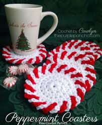 peppermint coasters u2013 free crochet pattern u2013 the purple poncho