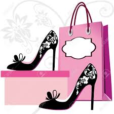 silhouettes of shoes and shopping bag with floral ornaments