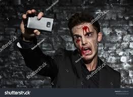 Black Makeup For Halloween Portrait Young Man Wearing Black Suit Stock Photo 323392547