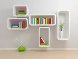 decorations beauty triple black square wall shelves for books