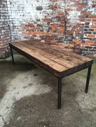 12 Seater Dining Table And Chairs Reclaimed Industrial Chic Xx 10 12 Seater Solid Wood Metal Dining