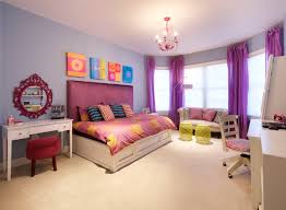 bedroom pink rose wallpaper and purple accent bedding set for