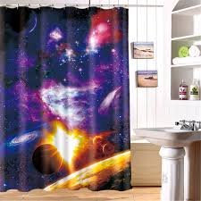 Kids Bathroom Shower Curtain 3d Oil Outer Space Kids Bathroom Shower Curtain Waterproof