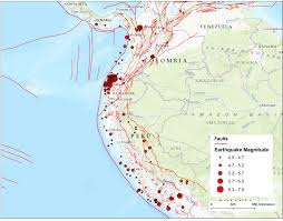 Labeled South America Map by Ecuador Peru And Colombia Faults Hint Where Large Earthquakes
