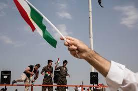 Kurdish Flag In Iraqi Kurdistan Voting On Independence And Bracing For Violence