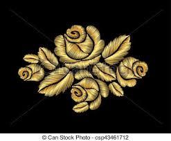 golden roses golden roses embroidery fashion illustration gold