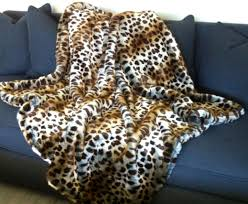 Faux Fur Blanket Queen Brown Silver Leopard Spotted Cat Fake Faux Fur Blanket Throw