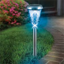 lytworx stainless steel glass lens led colour change solar stake light