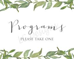 wedding program sign wedding programs sign printable green leafy leaves greenery
