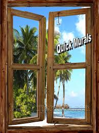 beach cabin window wall mural self adhesive peel and stick wall mural