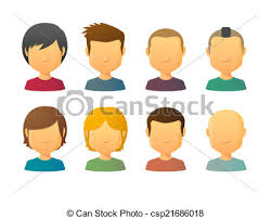 faceless male avatars with various hair styles faceless vector