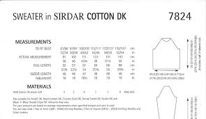 cotton dk knitting pattern 7824 sweater