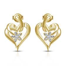 stylish gold earrings single cut diamond 14k gold plated 925 sterling silver new stylish