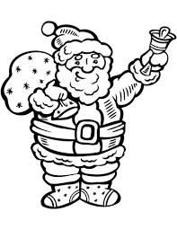 santa claus ringing bell coloring free printable