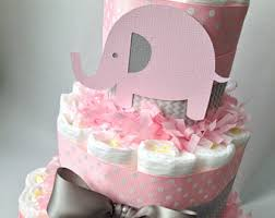 pink elephant baby shower elephant diaper cake elephant