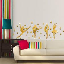 34pcs a set 3d ballerina dance wall mirror stickers classroom decals wall mirror stickers zoom