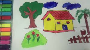 how to draw and paint house kids videos coloring with colored