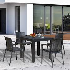 Resin Patio Dining Sets - outsunny 5pc all weather resin patio dining set garden outdoor